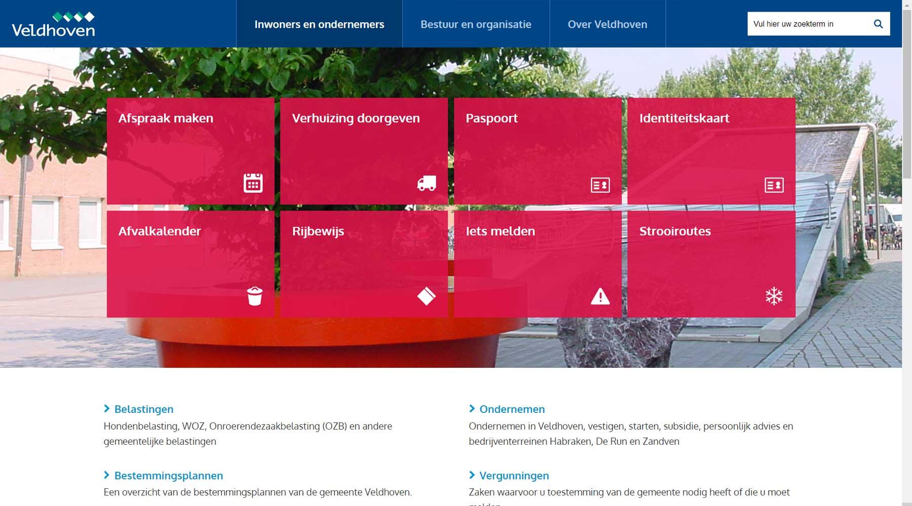 Homepage website gemeente Veldhoven | Toptaken website