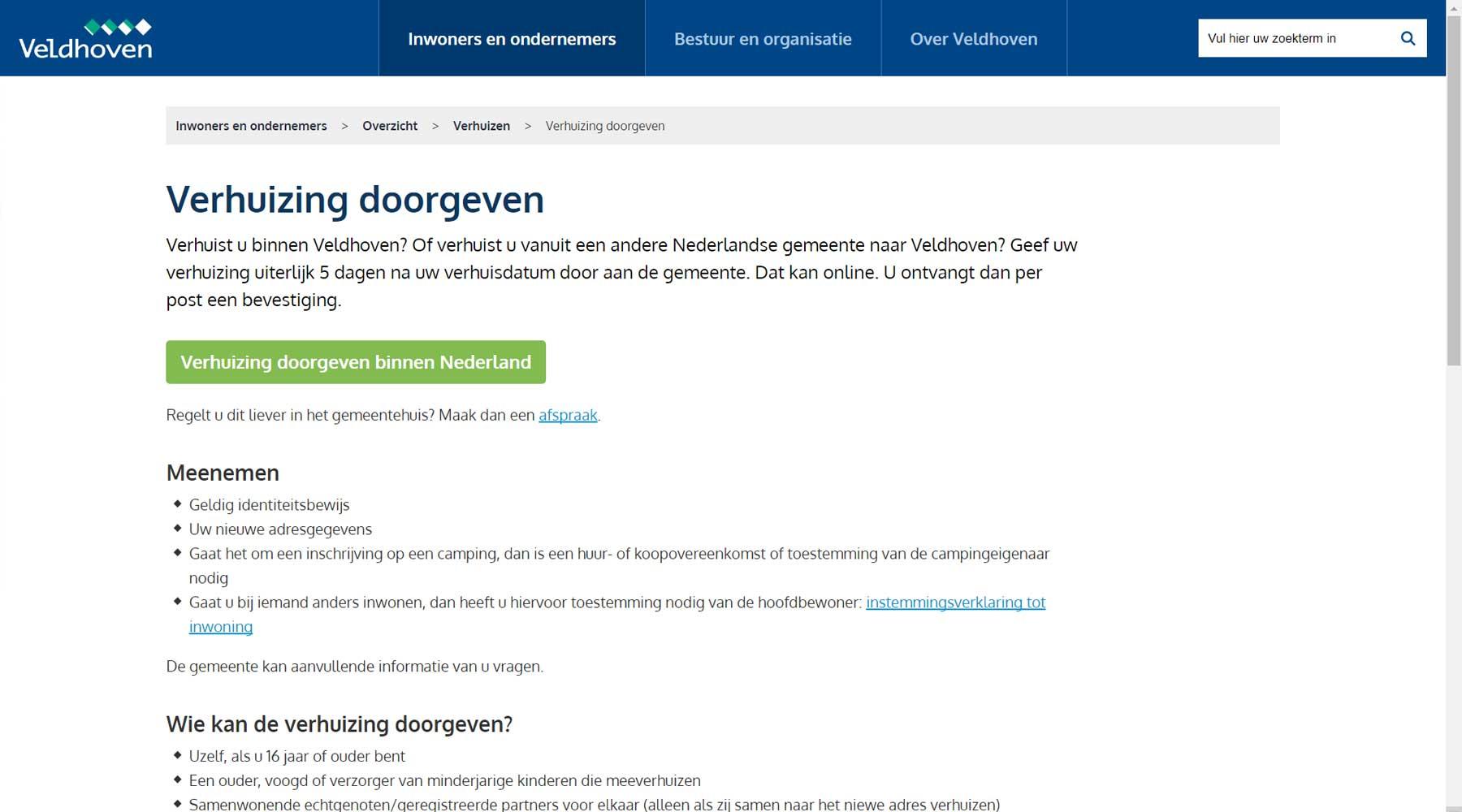 Call-to-action verhuizing doorgeven Veldhoven | Toptaken website