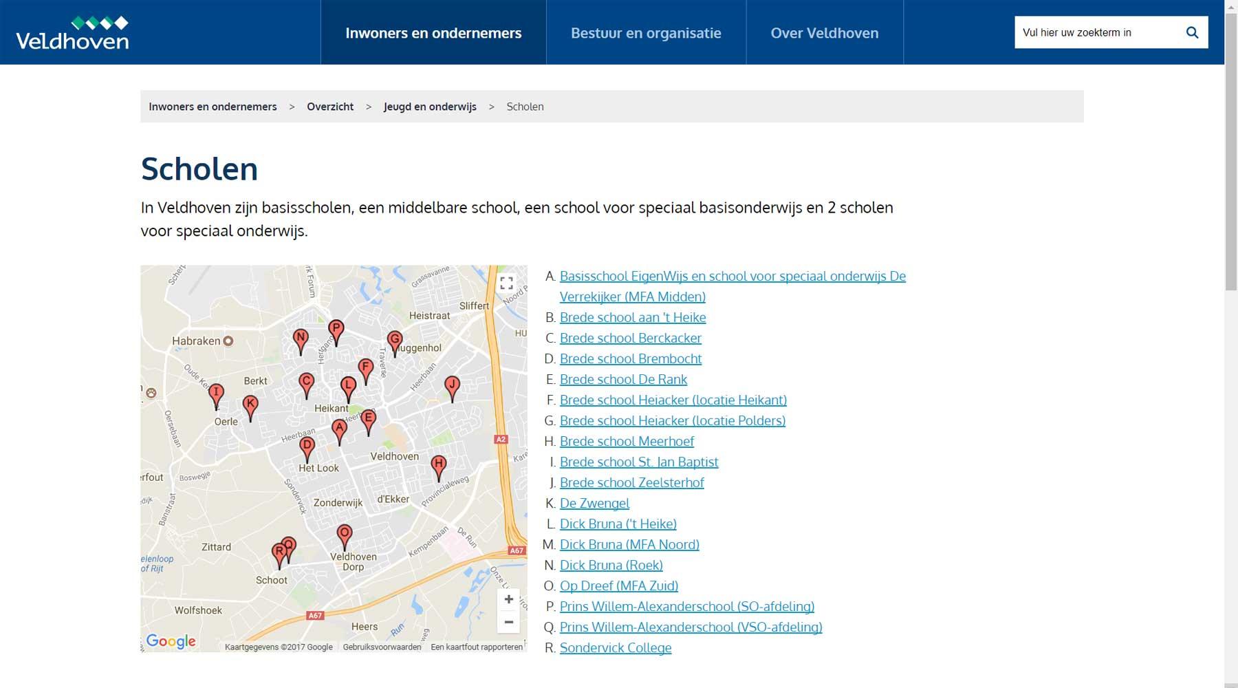 Informatie op kaarten tonen website gemeente Veldhoven | Toptaken website