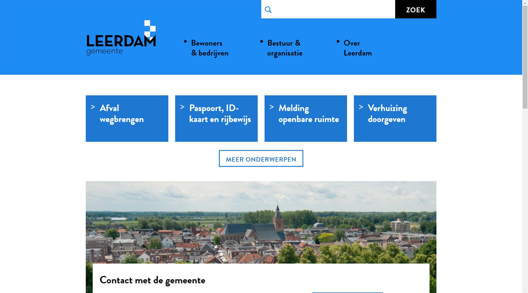 Homepage website voormalig gemeente Leerdam | Toptaken website