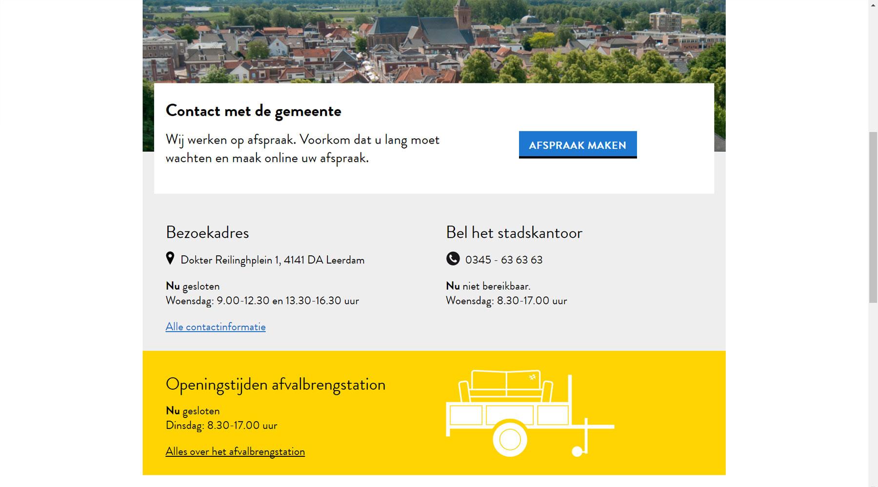 Openingstijden gemeentehuis direct inzichtelijk | Toptaken website