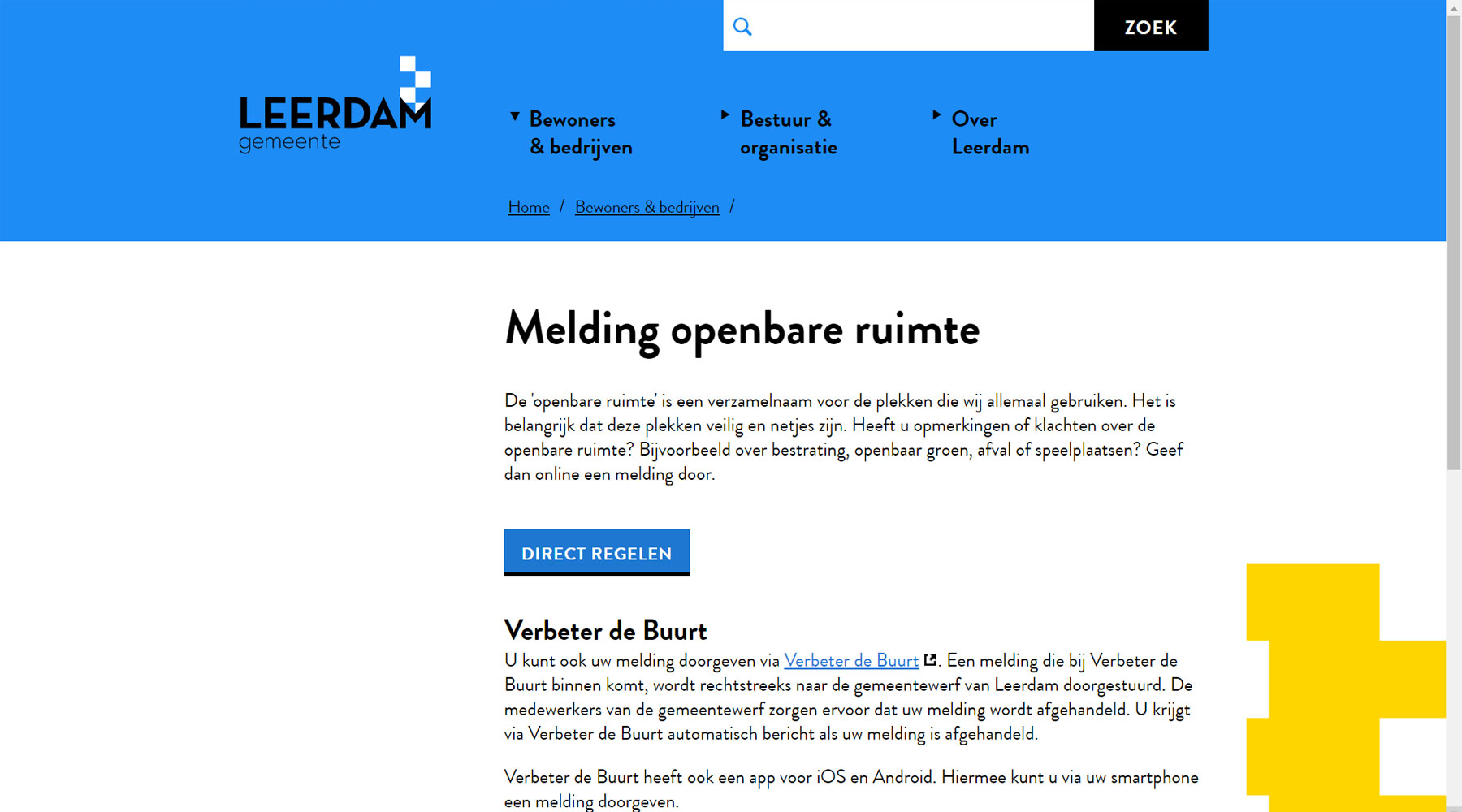 Call-to-action melding openbare ruimte voormalig gemeente Leerdam | Toptaken website