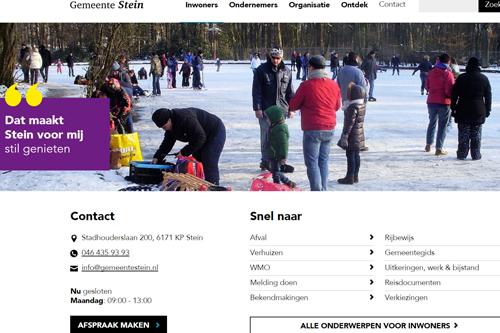 Screenshot homepage website gemeente Stein | Toptaken website