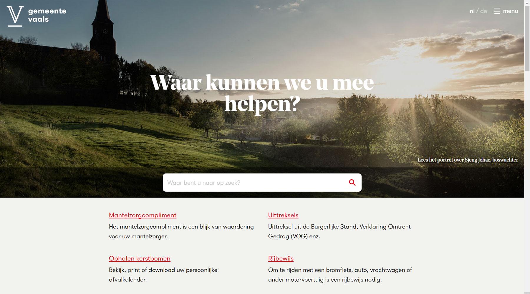 Homepage website gemeente Vaals | Toptaken website