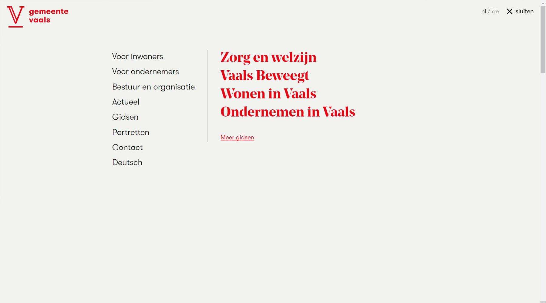 Menu website gemeente Vaals | Toptaken website