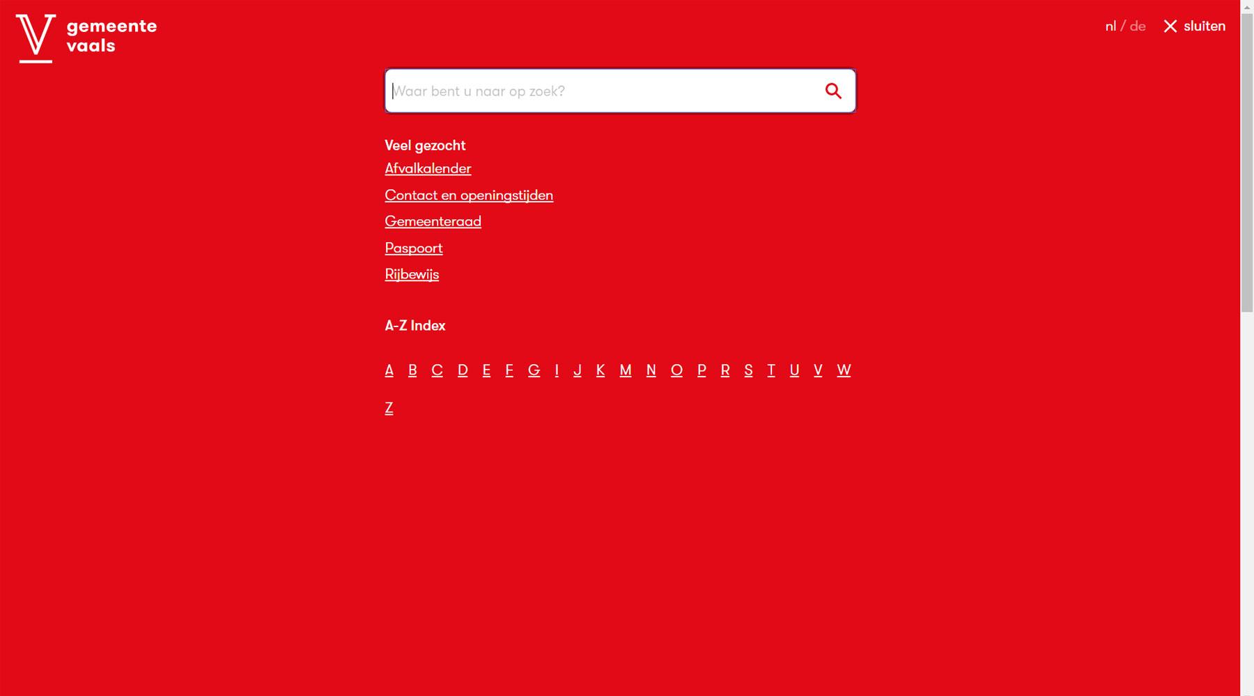 Zoekfunctie website gemeente Vaals | Toptaken website