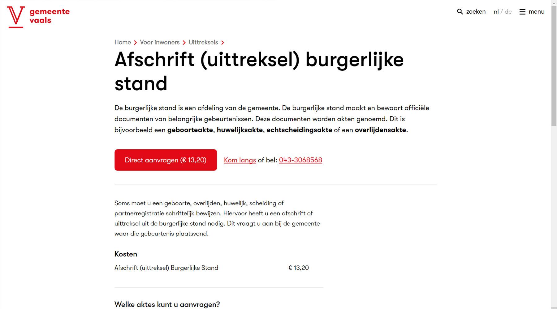 Detailpagina website gemeente Vaals | Toptaken website