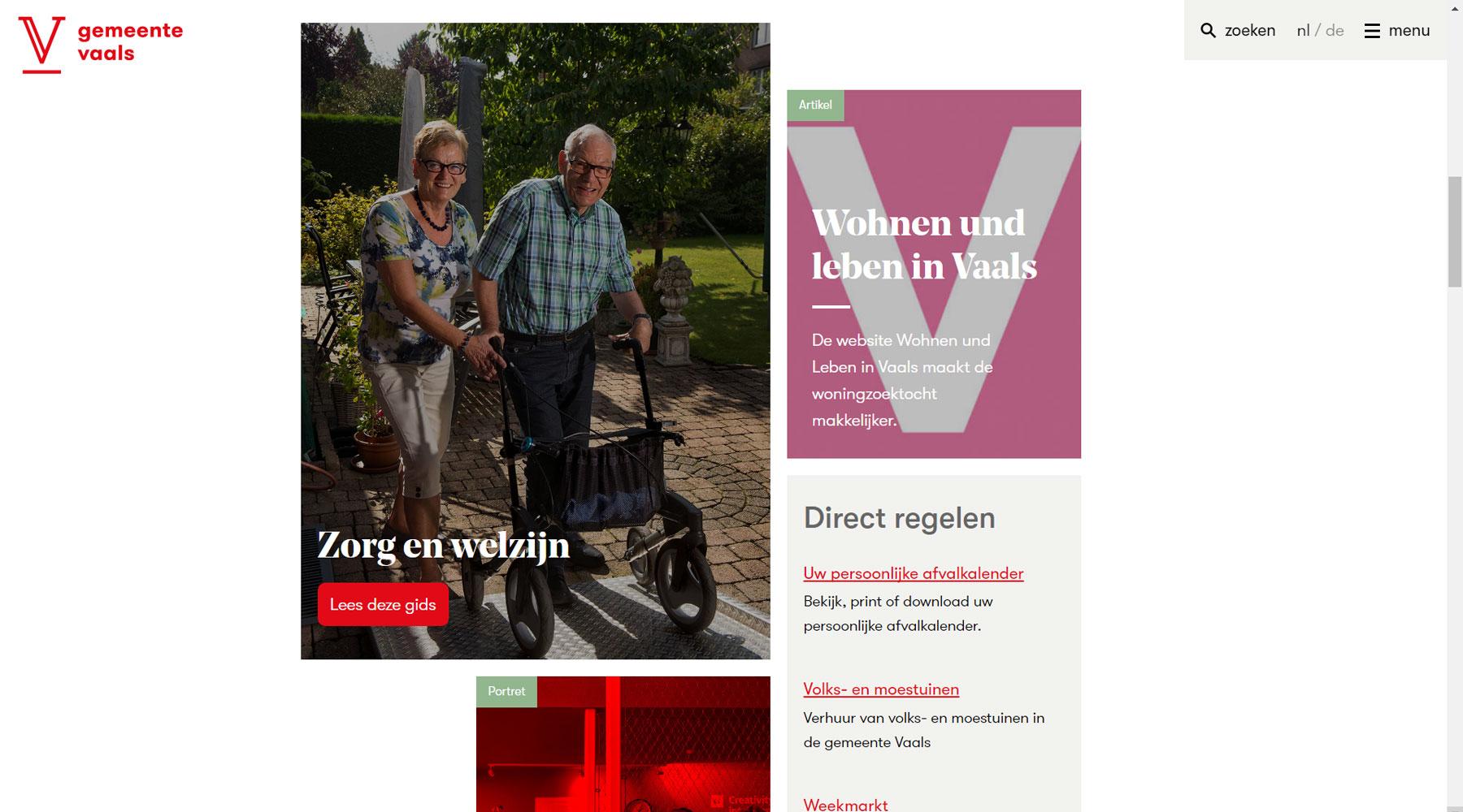Gidspagina website gemeente Vaals | Toptaken website