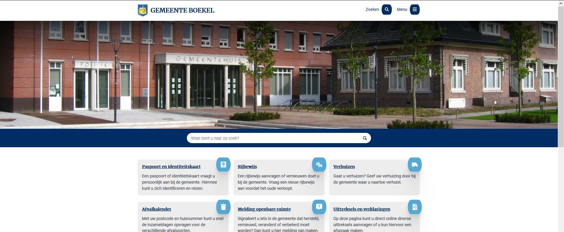 Screenshot website gemeente Boekel | Toptaken website