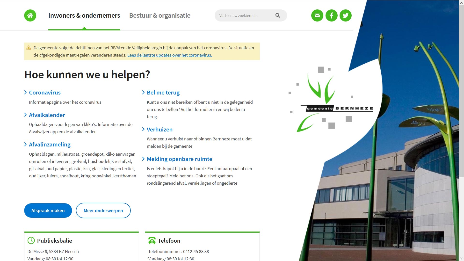 Website gemeente Bernheze met crisibanner   Toptaken website
