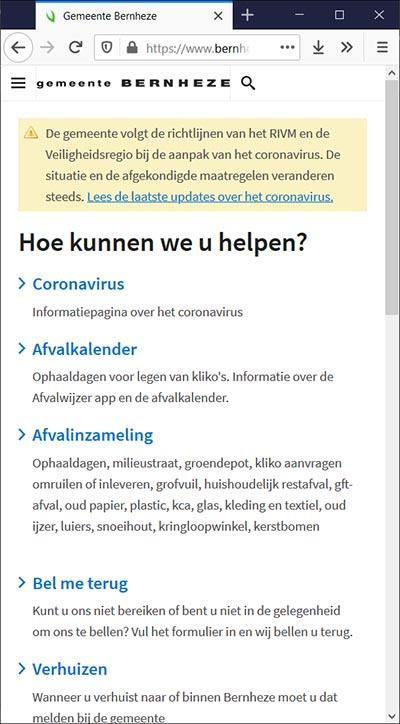 Mobiele website gemeente Bernheze met crisibanner   Toptaken website