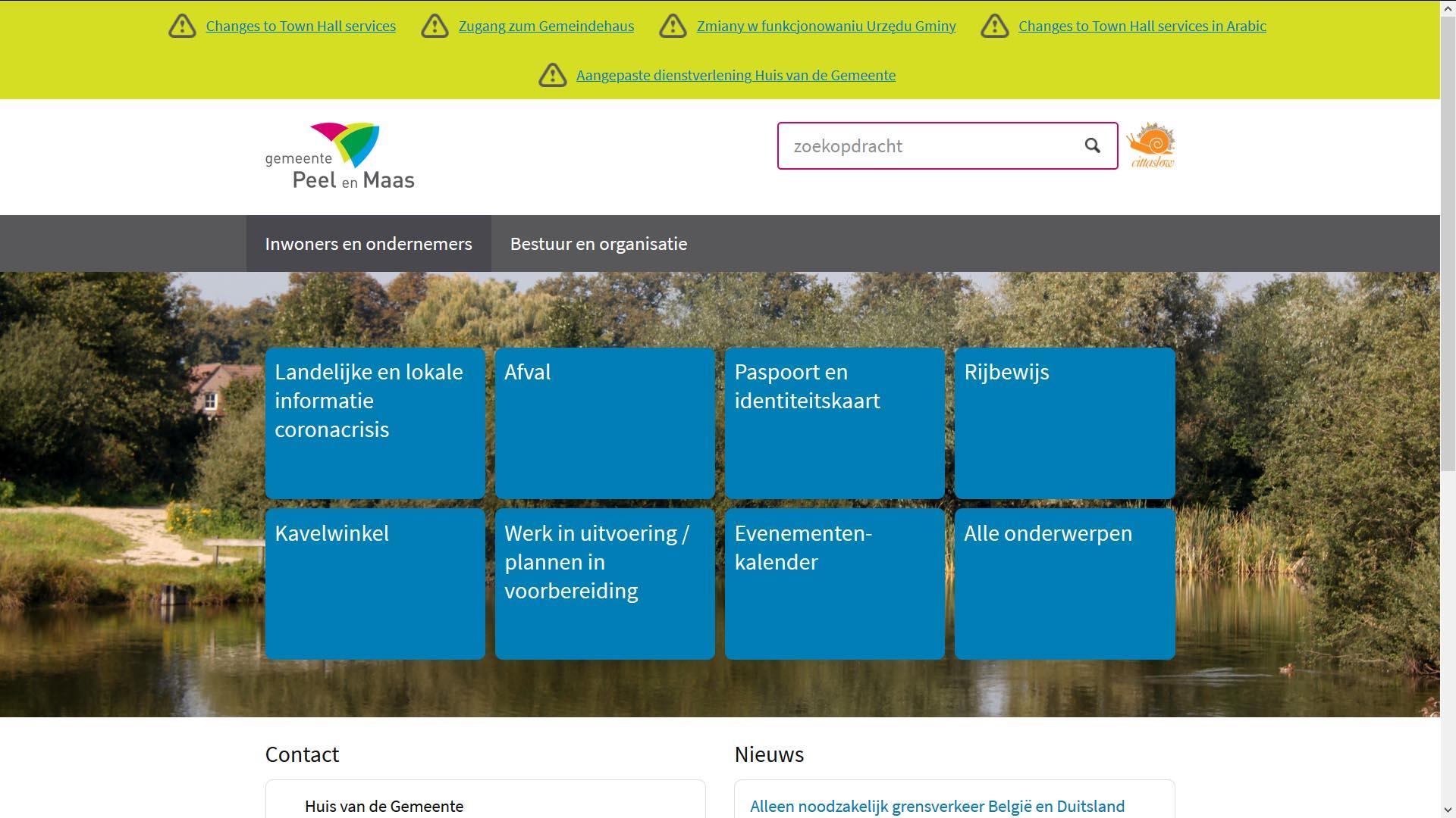 Toptaken in crisistijd, gemeente Peel en Maas   Toptaken website