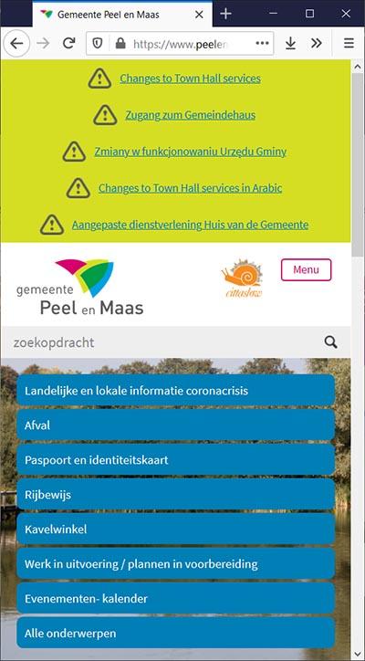 Toptaken in crisistijd, gemeente Peel en Maas mobiel   Toptaken website