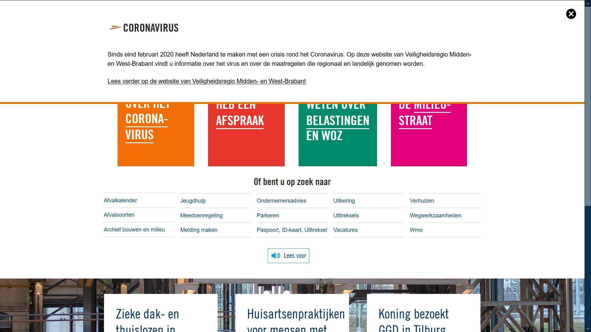 Website gemeente Tilburg tijdens Corona crisi   Toptaken website