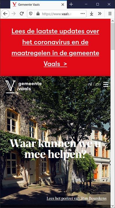 Toptaken in crisistijd gemeente Vaals, mobiel   Toptaken website