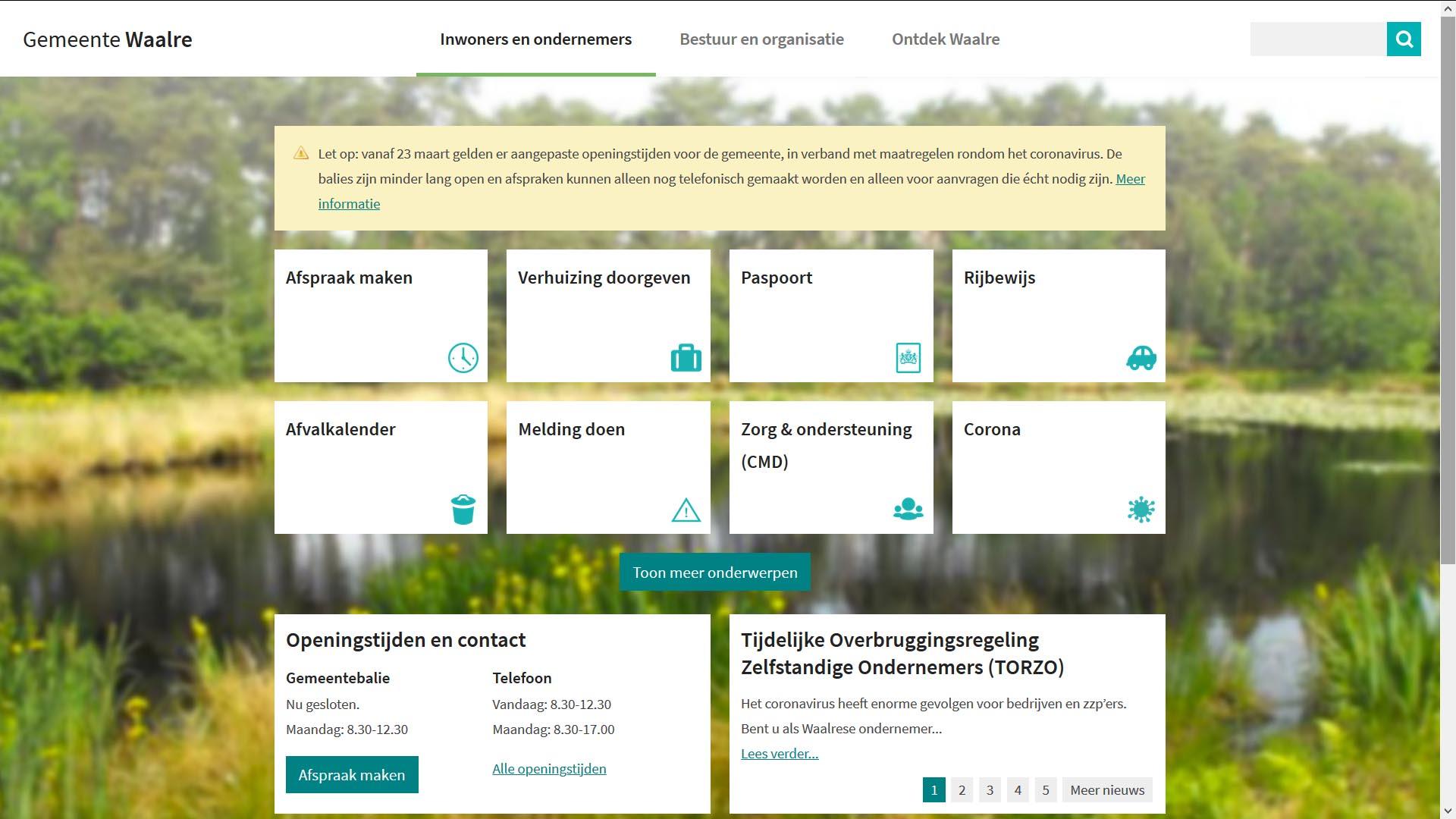 Website gemeente Waalre tijdens Corona crisi   Toptaken website