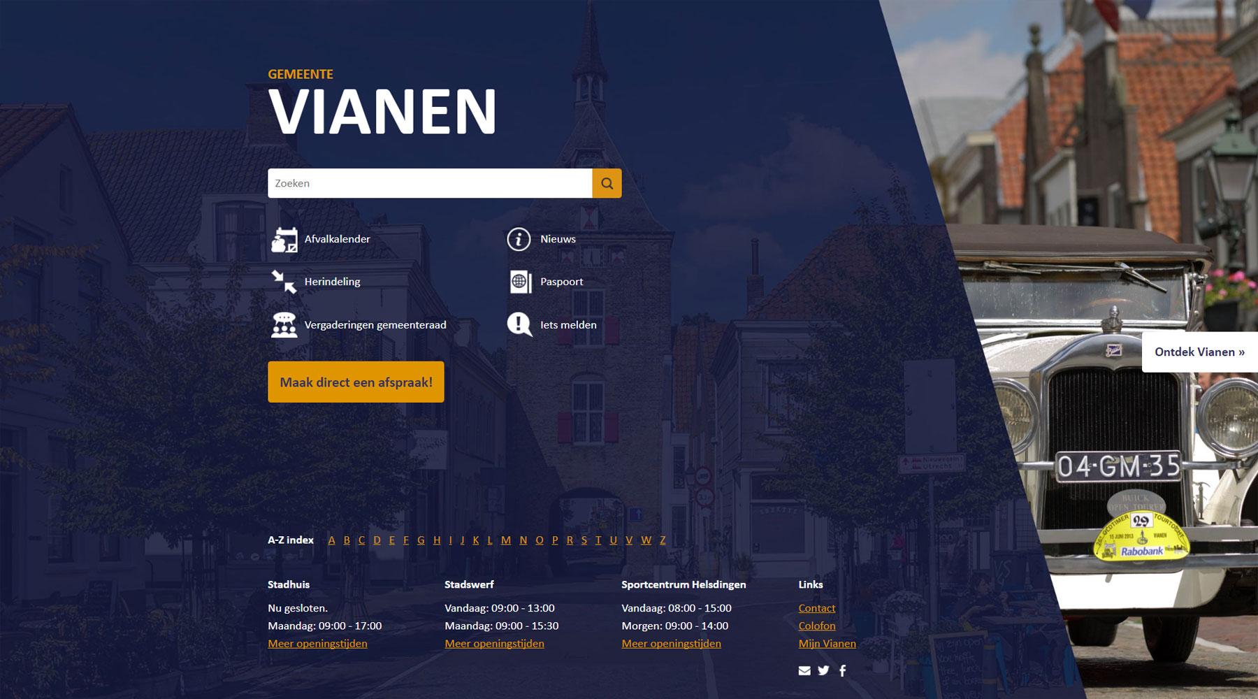 Homepage gemeente Vianen | Toptaken website