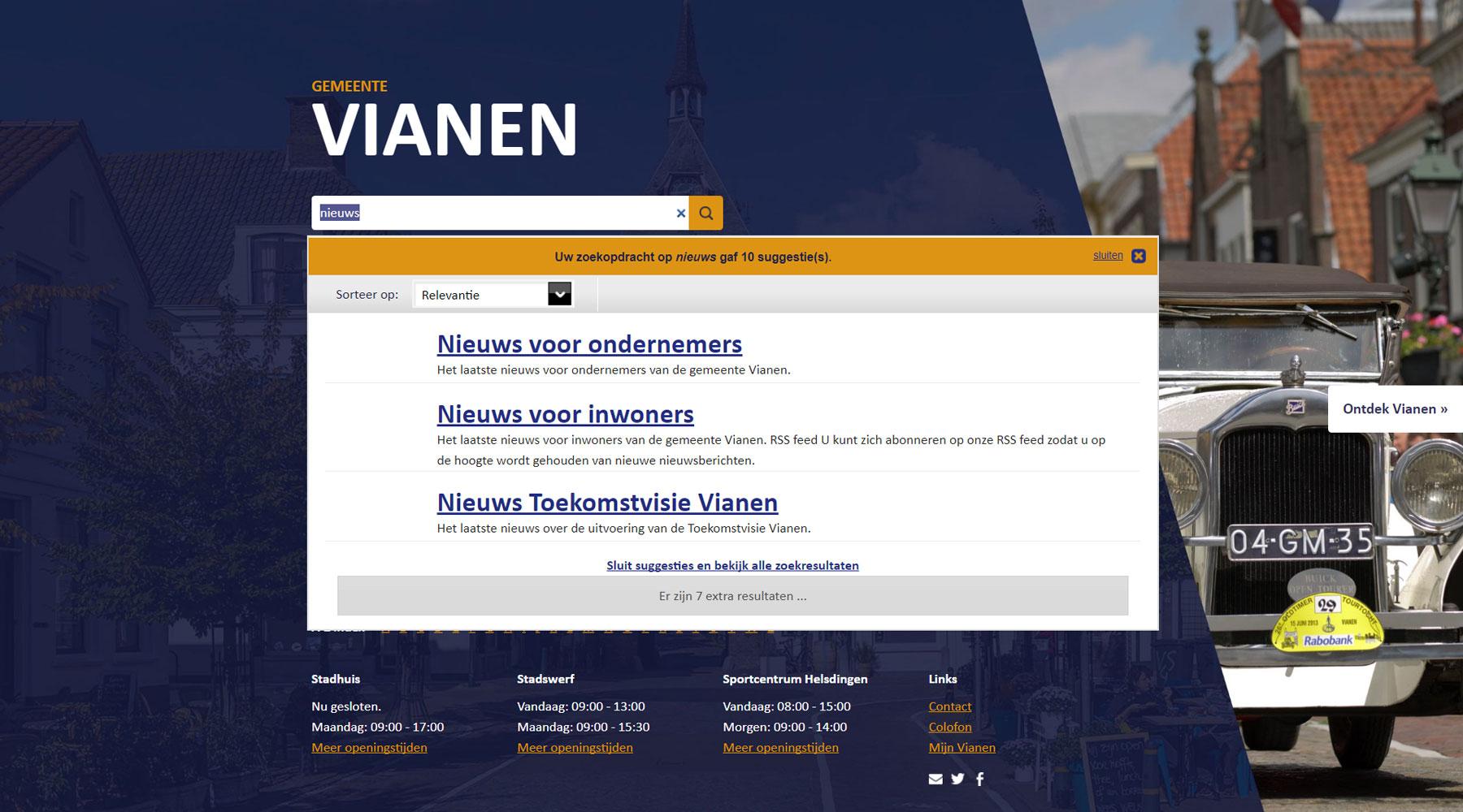 Zoekfunctie gemeente Vianen | Toptaken website