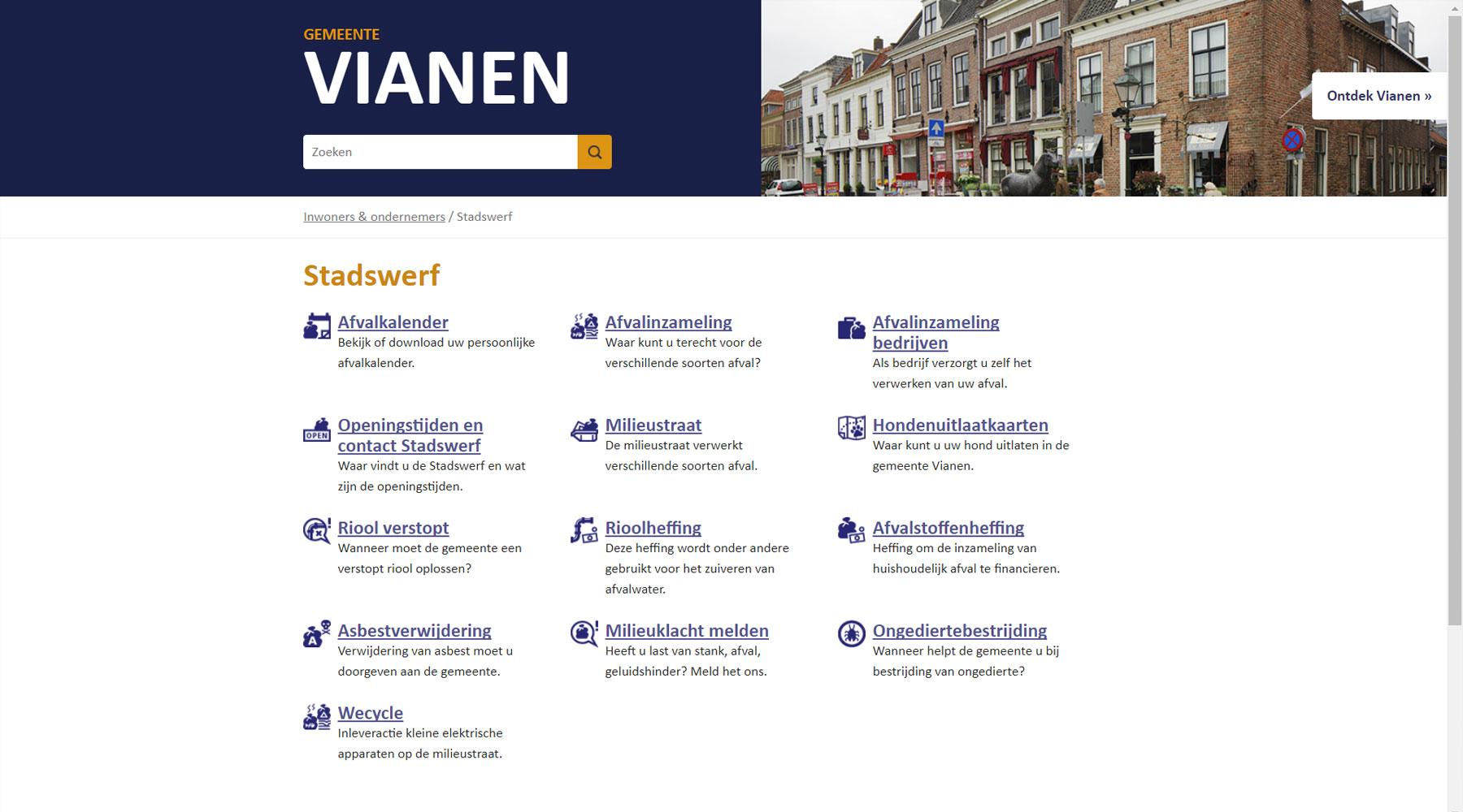 Indexpagina gemeente Vianen | Toptaken website