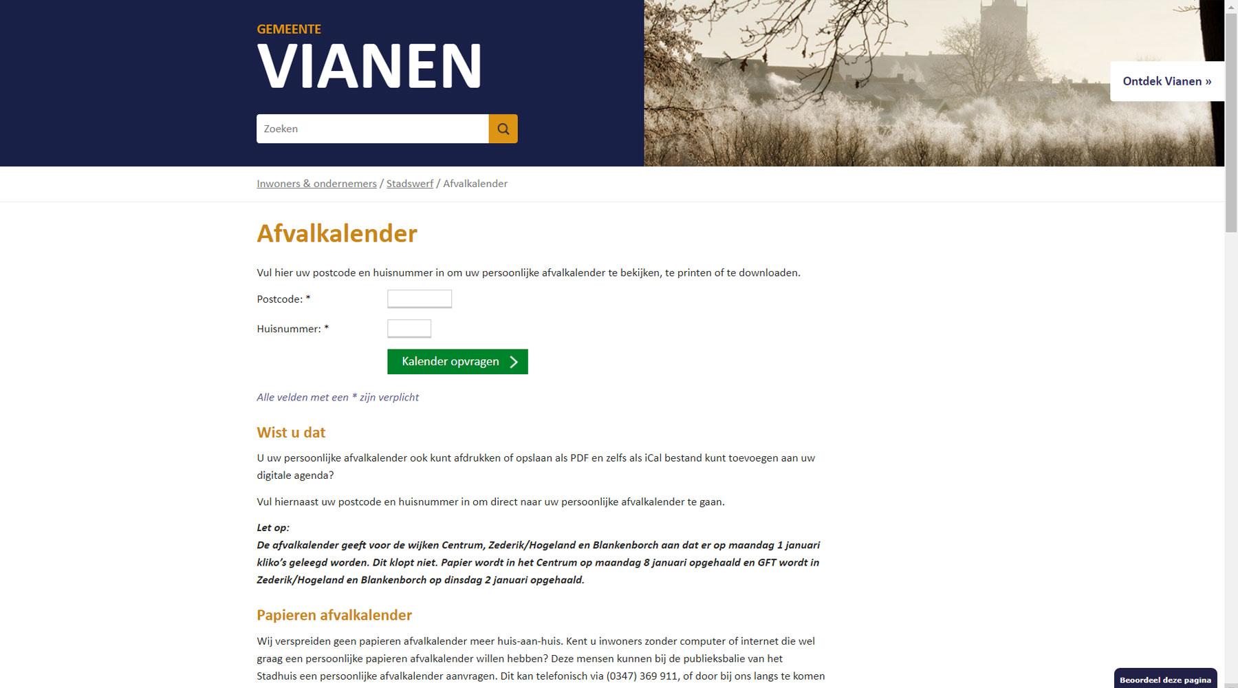 Afvalkalender gemeente Vianen | Toptaken website