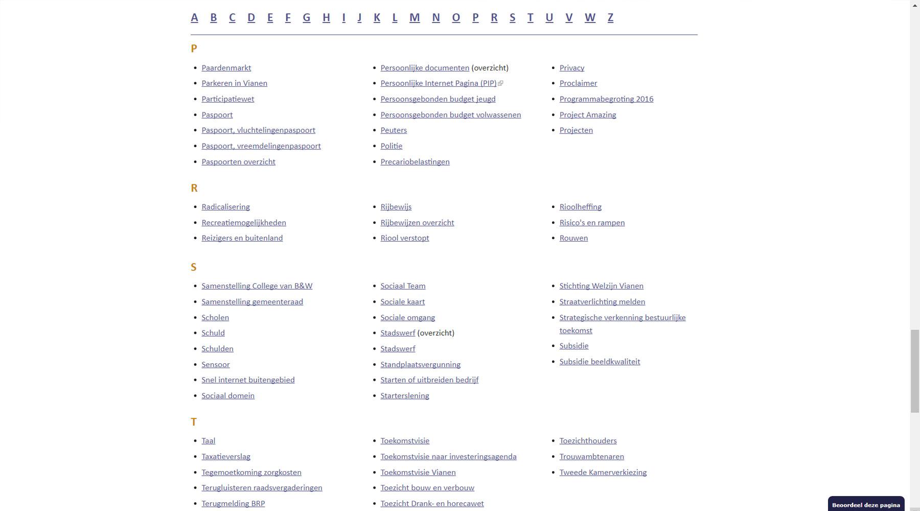A-Z index als één van de uitgangspunten Toptaken website
