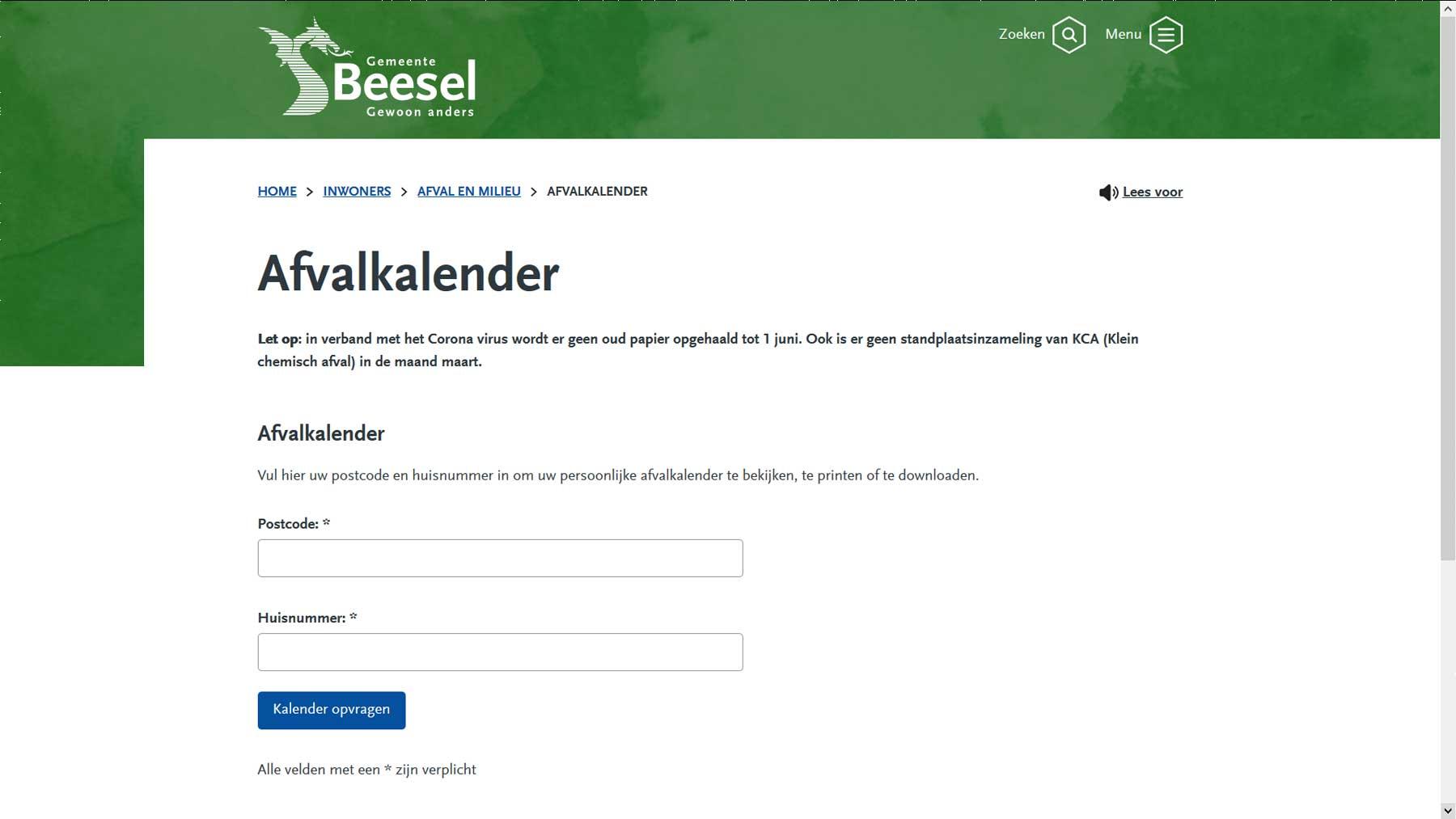 Afvalkalender website gemeente Beesel | Toptaken website
