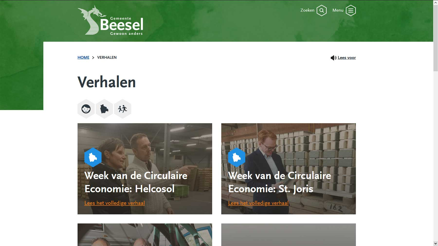 Storytelling website Beesel | Toptaken website