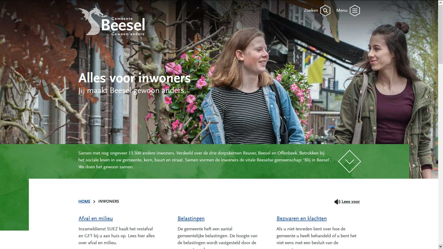 Indexpagina doelgroep website Beesel | Toptaken website