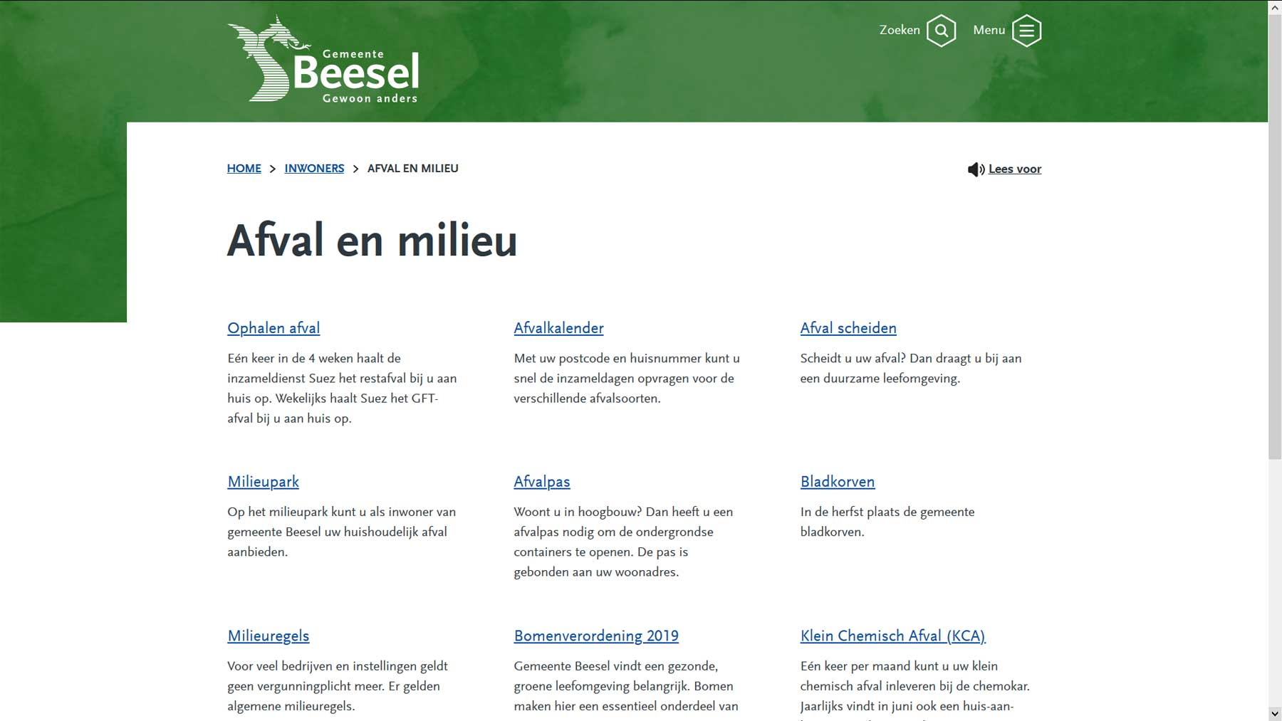 Thema indeling website Beesel