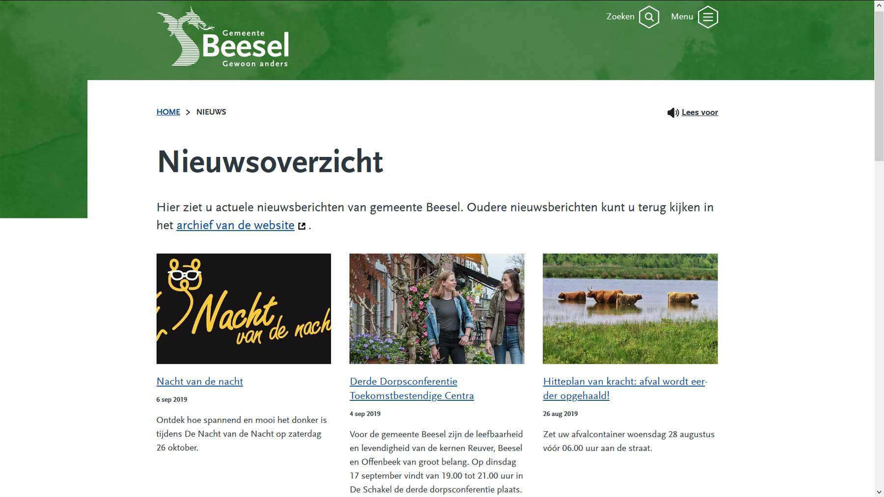 NIeuwsoverzicht website Beesel | Toptaken website