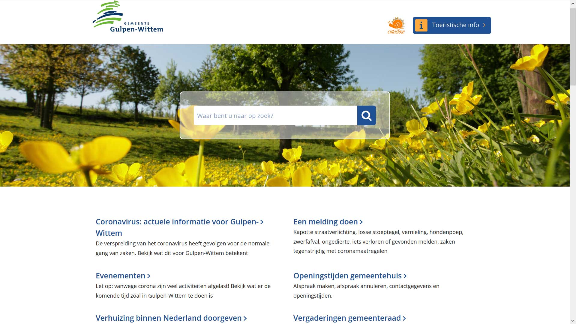 Homepage website gemeente Gulpen-Wittem | Toptaken website