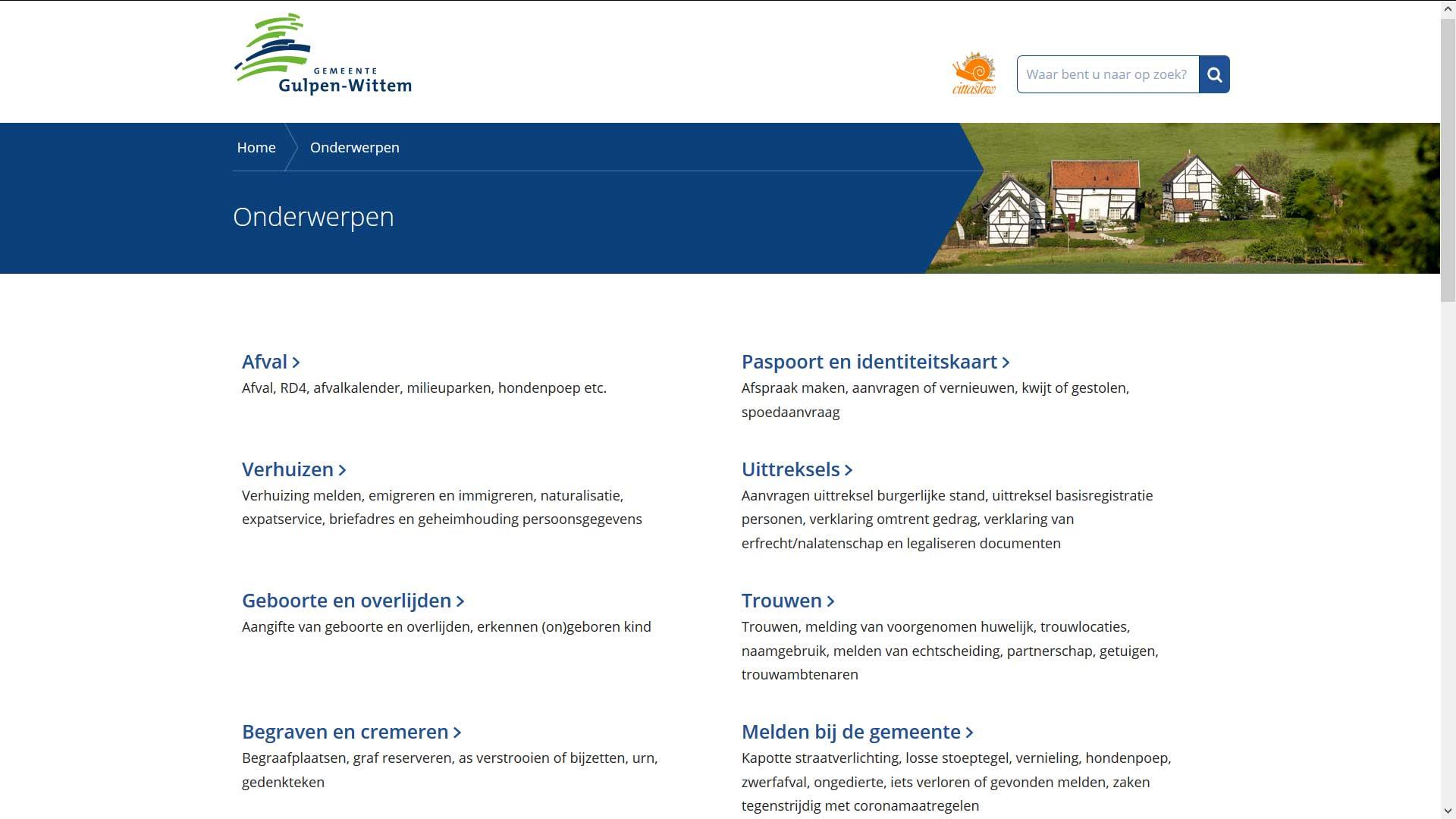 Overzichtspagina website gemeente Gulpen-Wittem | Toptaken website