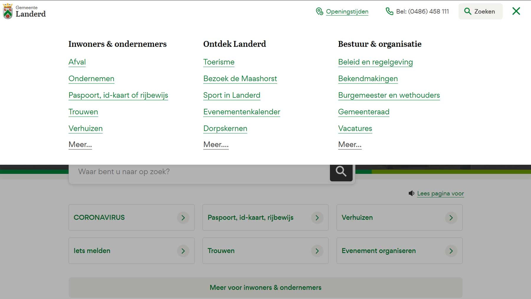 Menu indeling website Landerd | Toptaken website