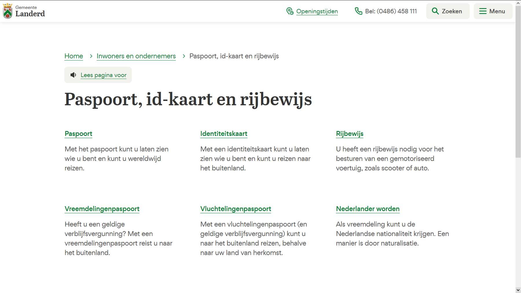 Thema overzichtspagina website Landerd | Toptaken website