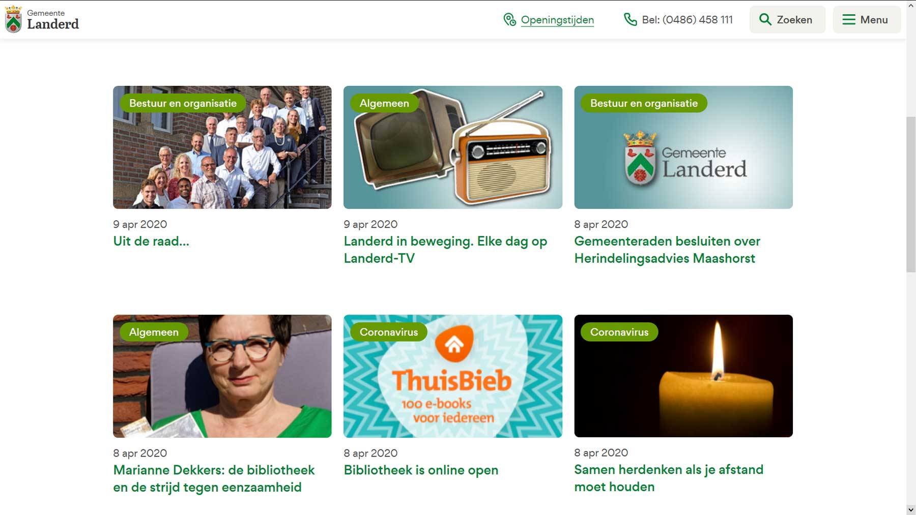 Nieuwsoverzicht website gemeente Landerd | Toptaken website