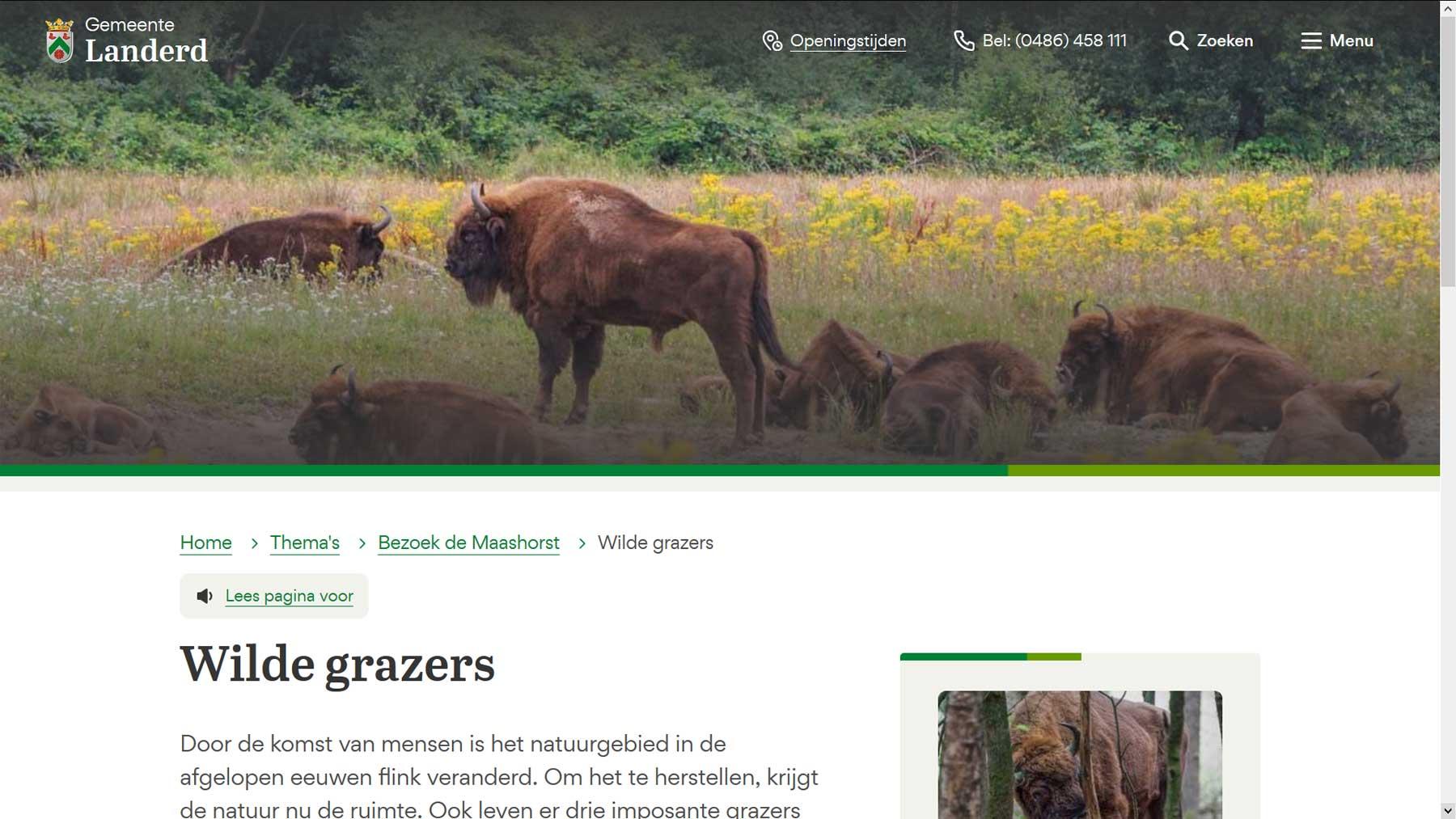 Themapagina website Landerd | Toptaken website