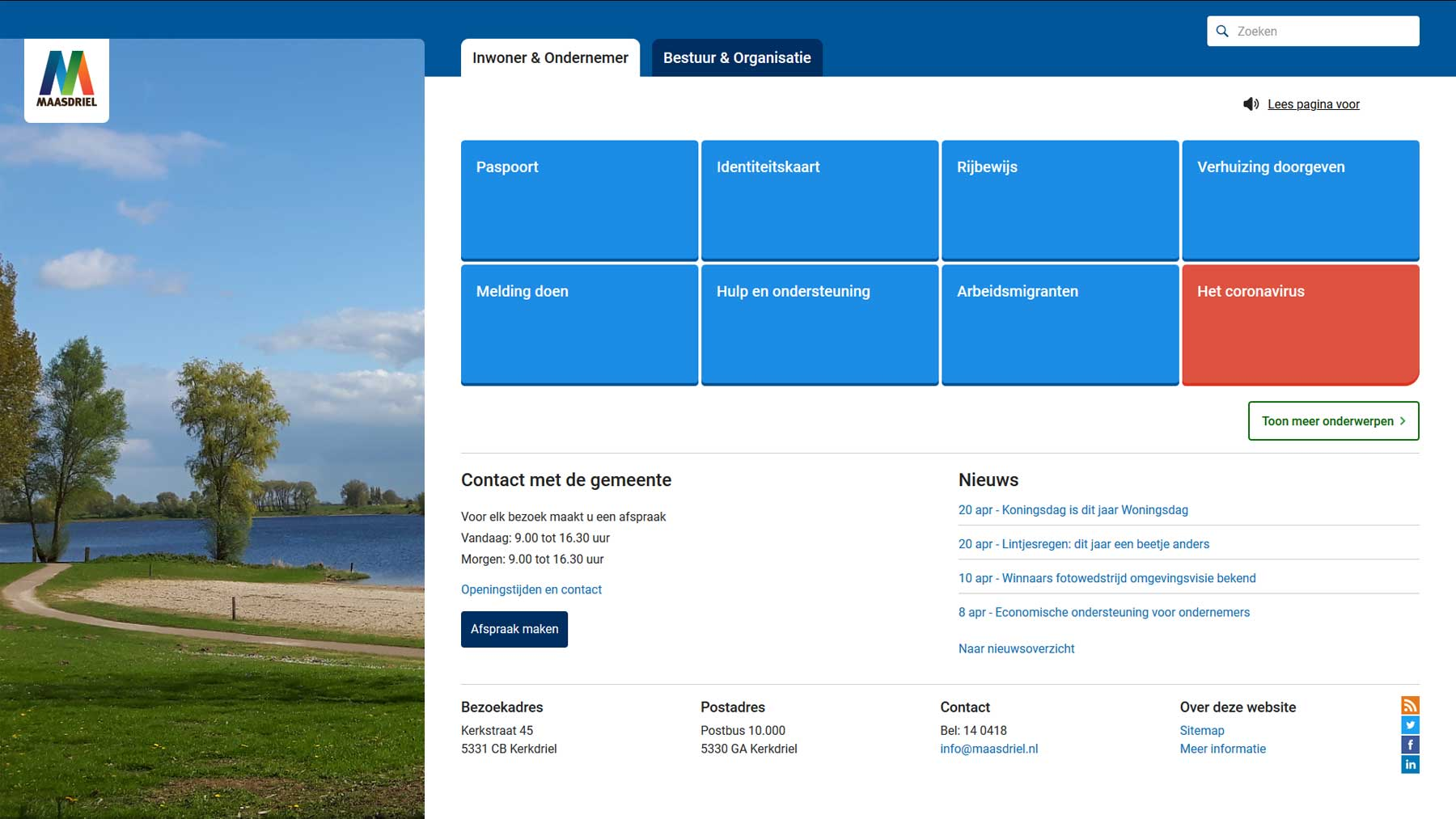 Homepage website gemeente Maasdriel | Toptaken website