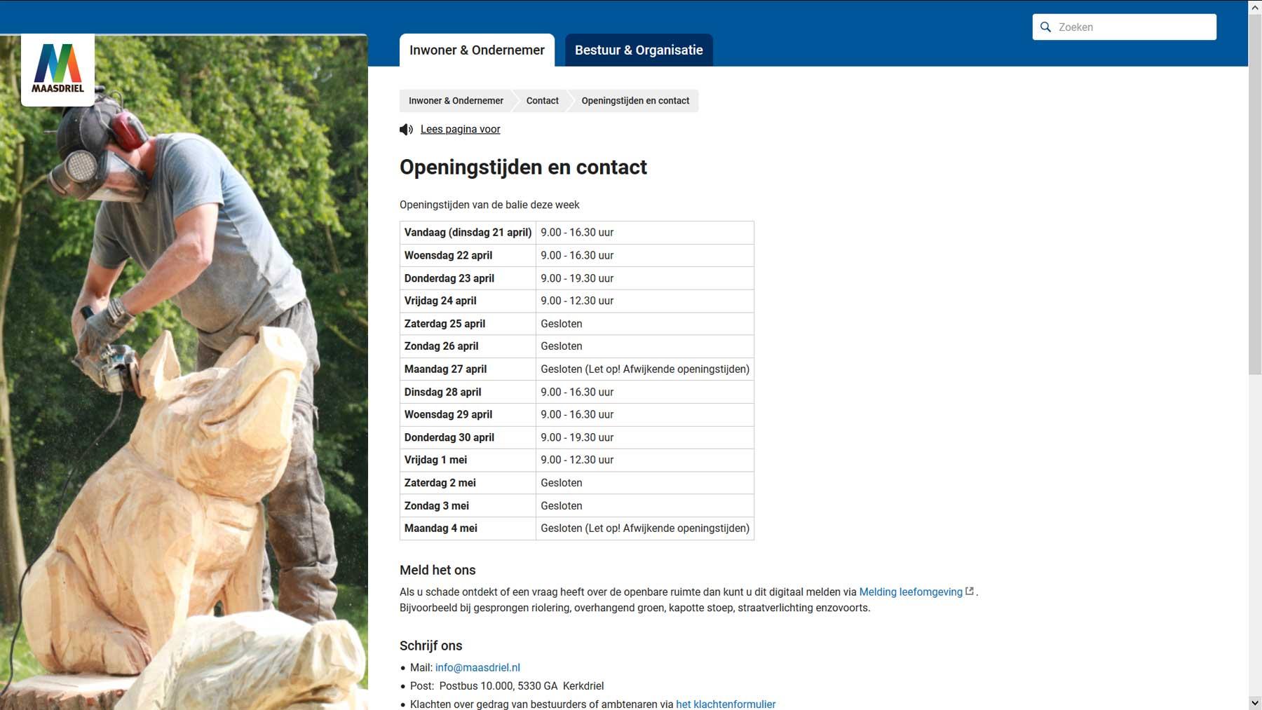 Openingstijden stadhuis Maasdriel | Toptaken website