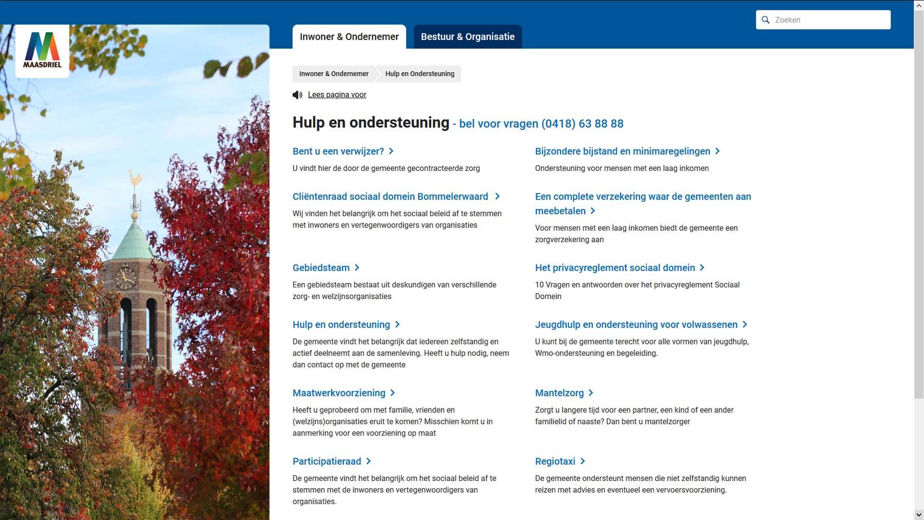 Overzichtspagina website Maasdriel | Toptaken website