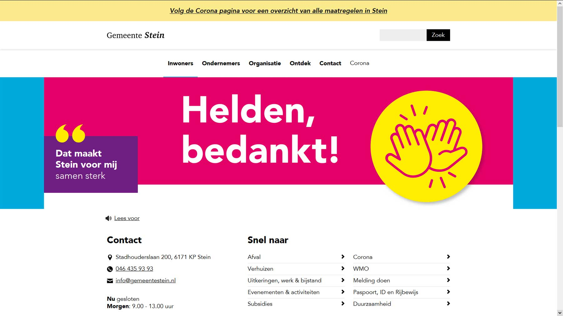 Homepage website gemeente Stein | Toptaken website