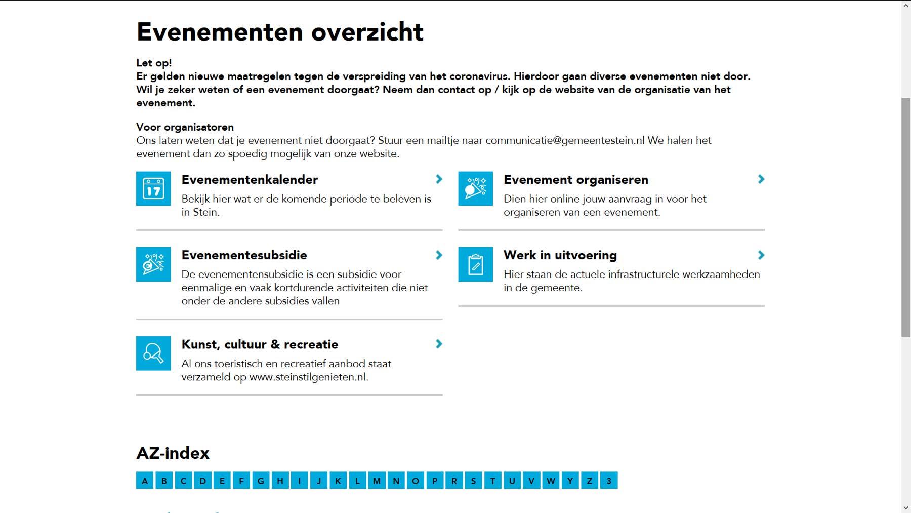 Overzichtspagina website Stein | Toptaken website