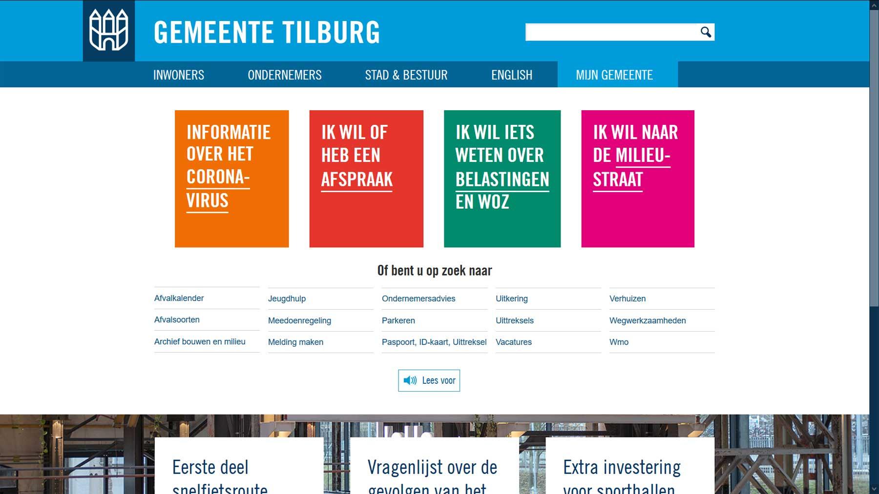 Homepage toptaken website gemeente Tilburg | Toptaken website