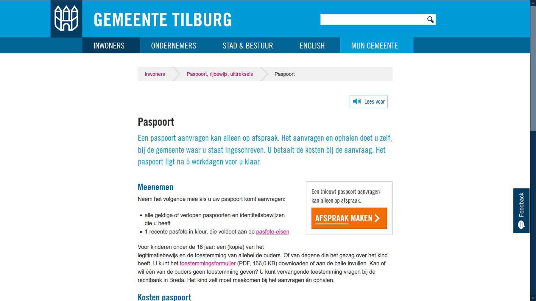 Detailpagina website gemeente Tilburg | Toptaken website